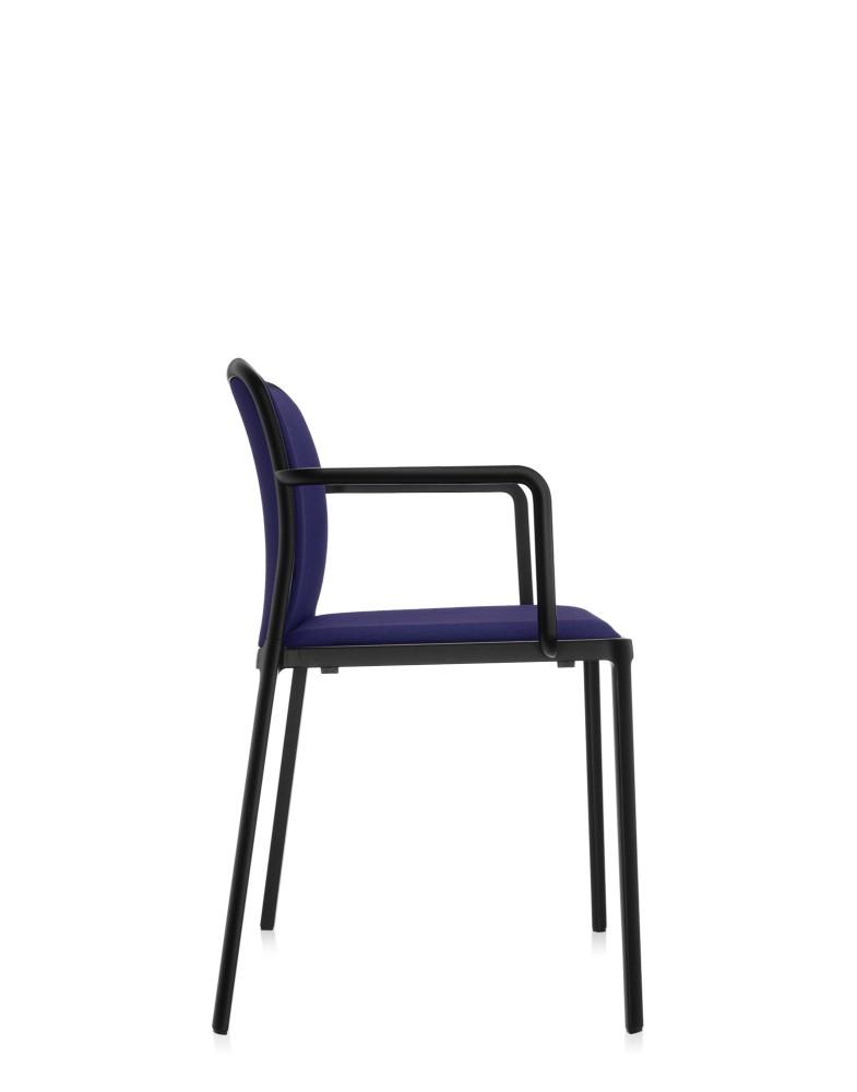 Стул Audrey Soft с подлокотниками (синий/черный) в ткани Trevira