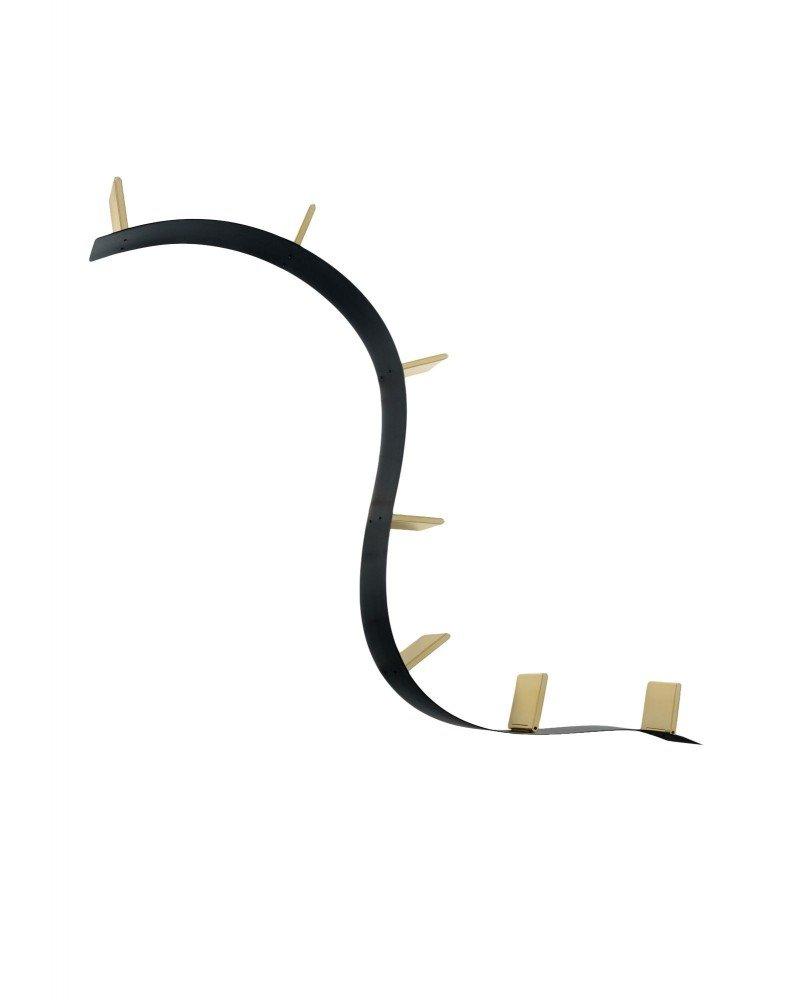 Полка книжная Popworm (черная/золотая) 7 стоек, длина 320см