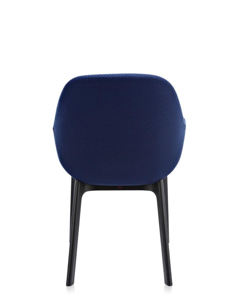 Кресло Clap (черное/синее) тисненая ткань