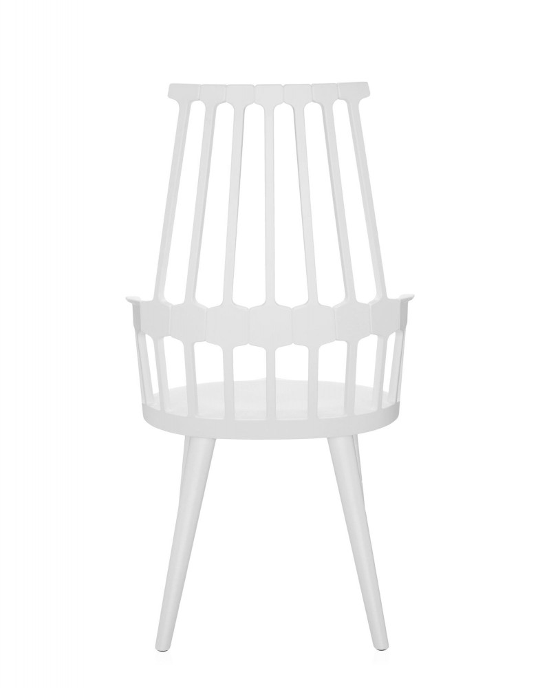 Кресло Comback (белое) на деревянных ножках