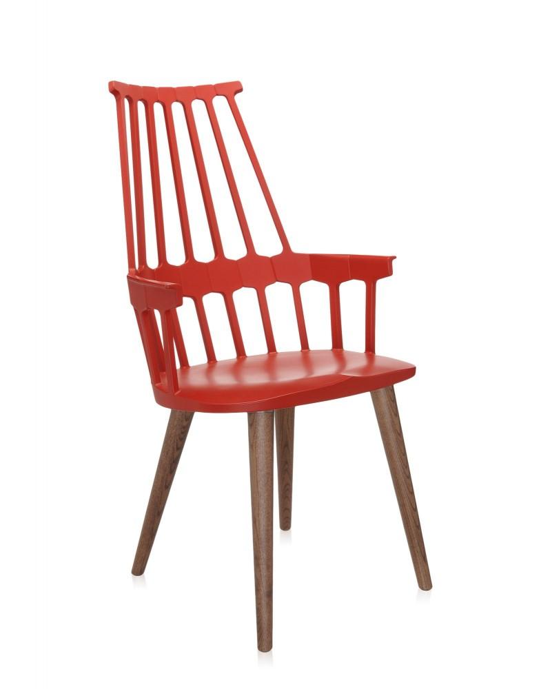 Кресло Comback (красное/дубовое) на деревянных ножках