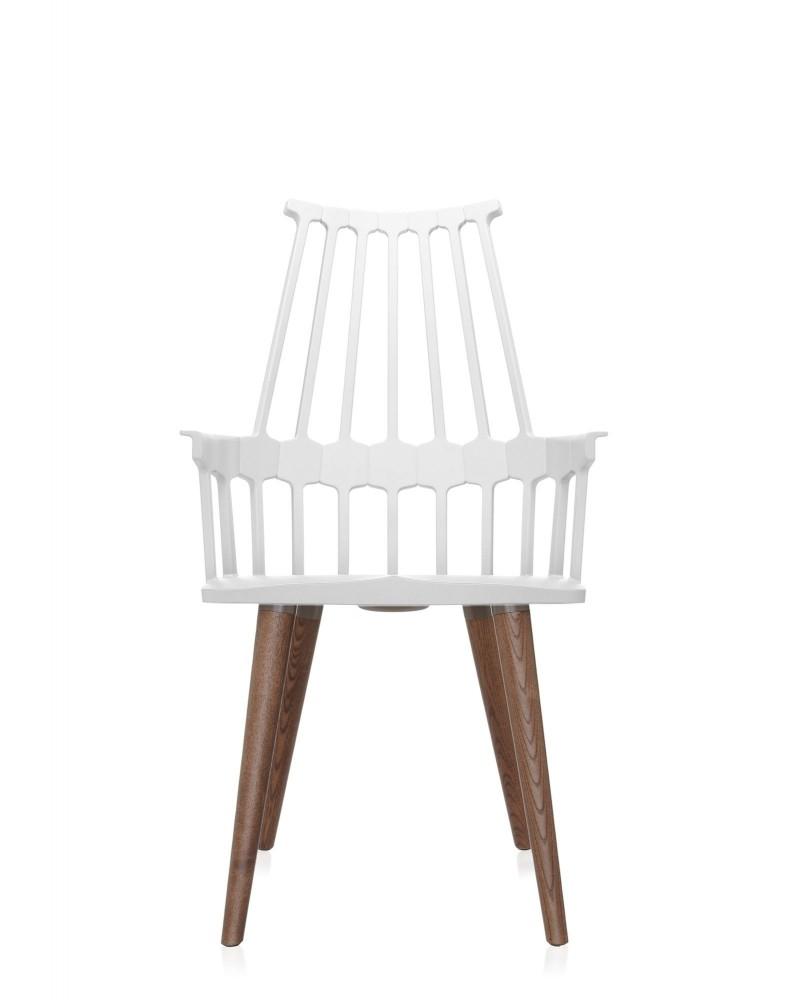 Кресло Comback (белое/дубовое) на деревянных ножках