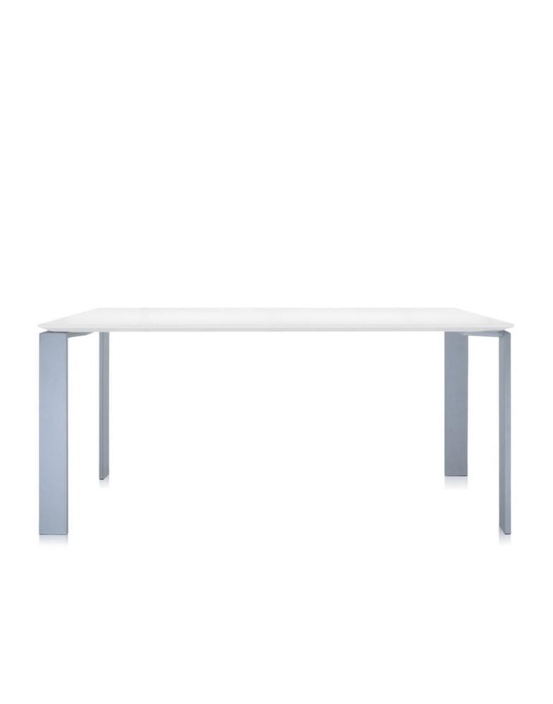 Стол офисный Four (белый/алюминиевый) 158x79см