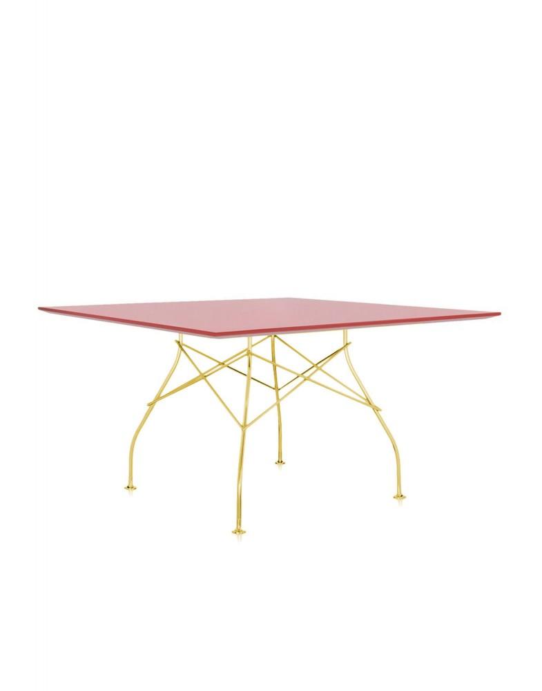 Стол Glossy (красный/золотой) 130x130см