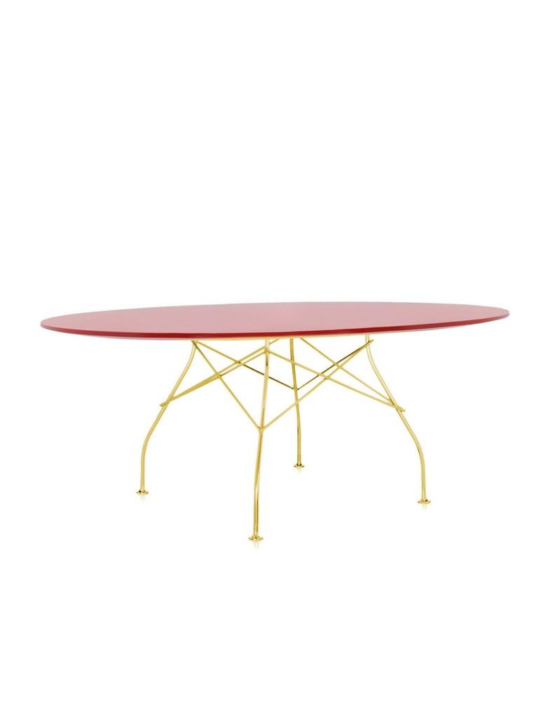 Стол Glossy (красный/золотой) 194x120см