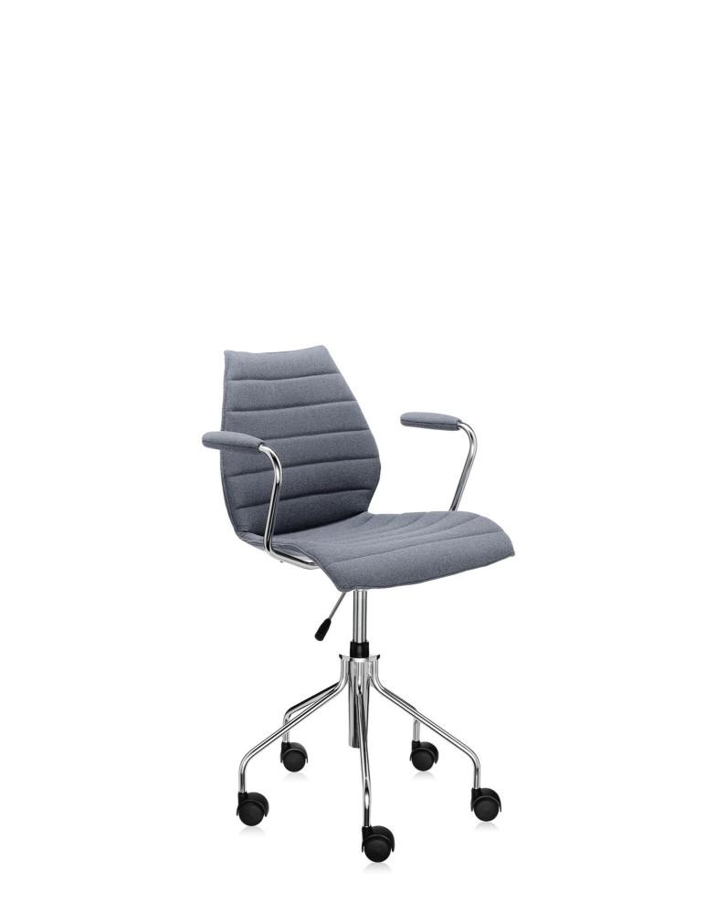 Кресло Maui Soft на колесах (серое) в ткани Trevira