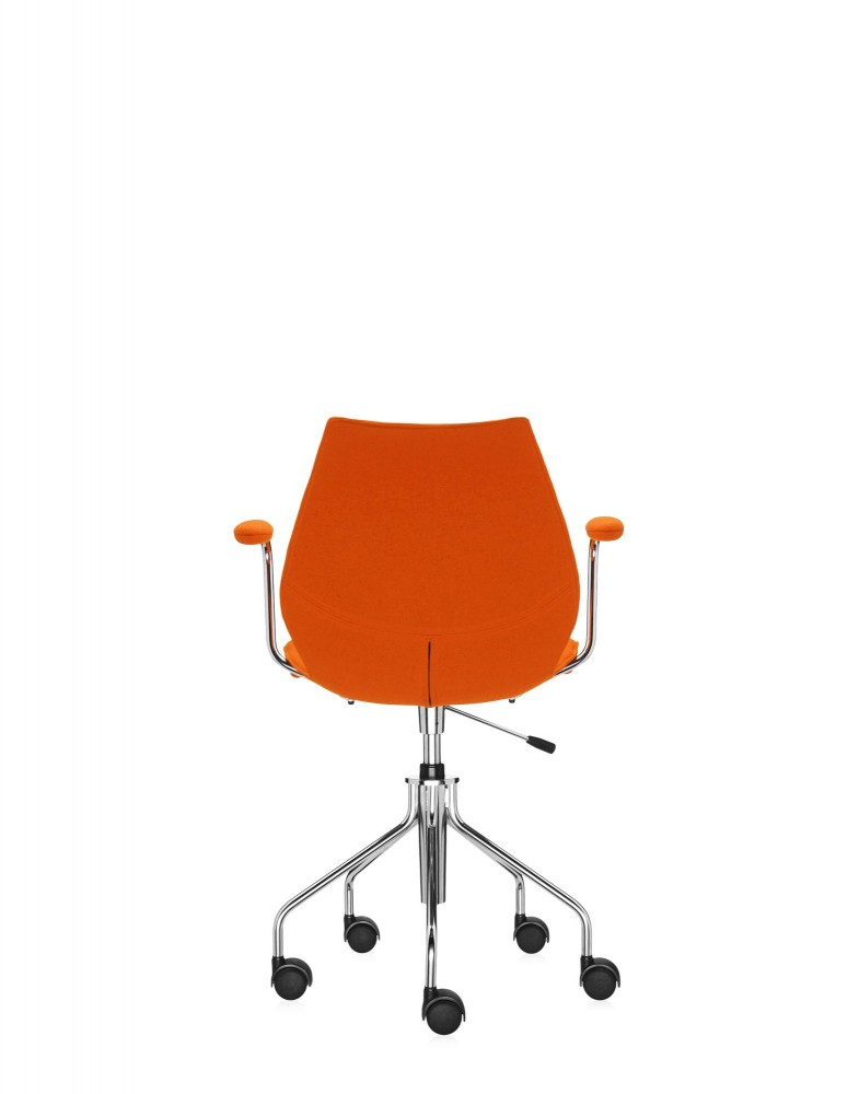 Кресло Maui Soft на колесах (оранжевое) в ткани Trevira