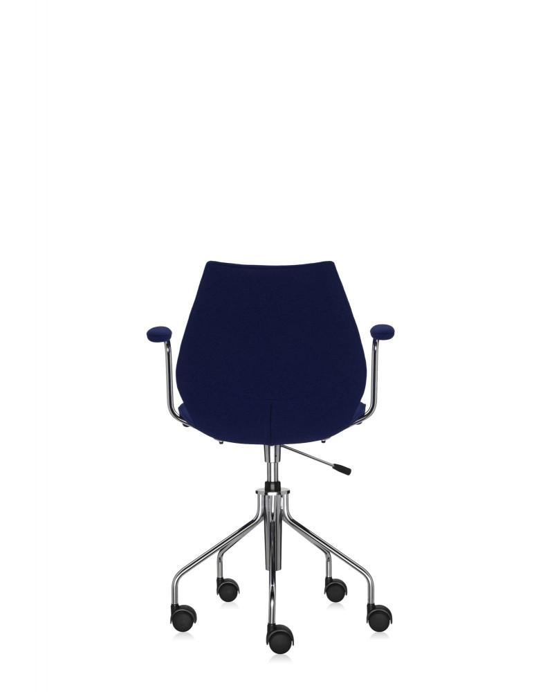 Кресло Maui Soft на колесах (синее) в ткани Trevira