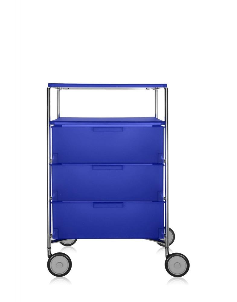 Контейнер Mobil на колесах (синий) с тремя ящиками и полкой