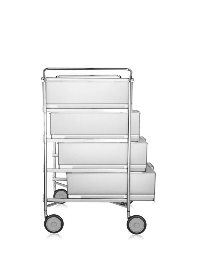 Контейнер Mobil на колесах (белый) с четырьмя ящиками и ручками