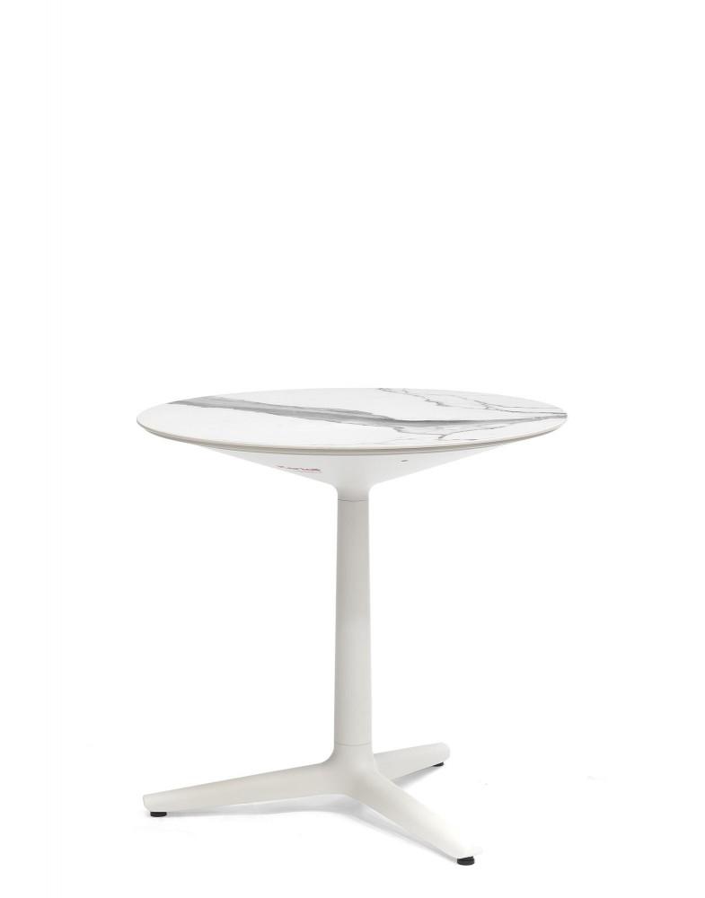 Стол Multiplo (белый) 78х78см, мрамор, треногое основание