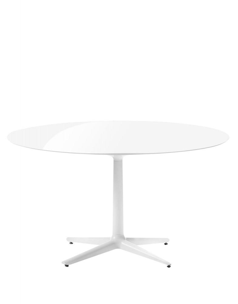 Стол Multiplo (белый) диаметр 118см, стекло, крестообразное основание