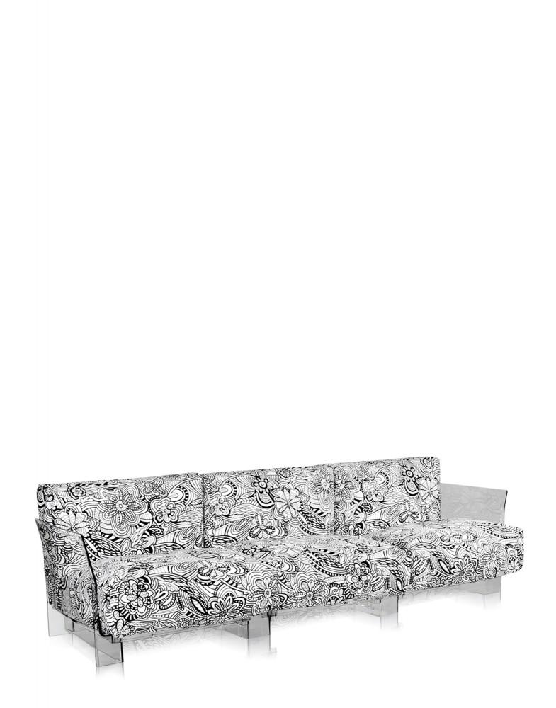 Диван Pop трехсекционный (серый/кристалл) в отделке Missoni