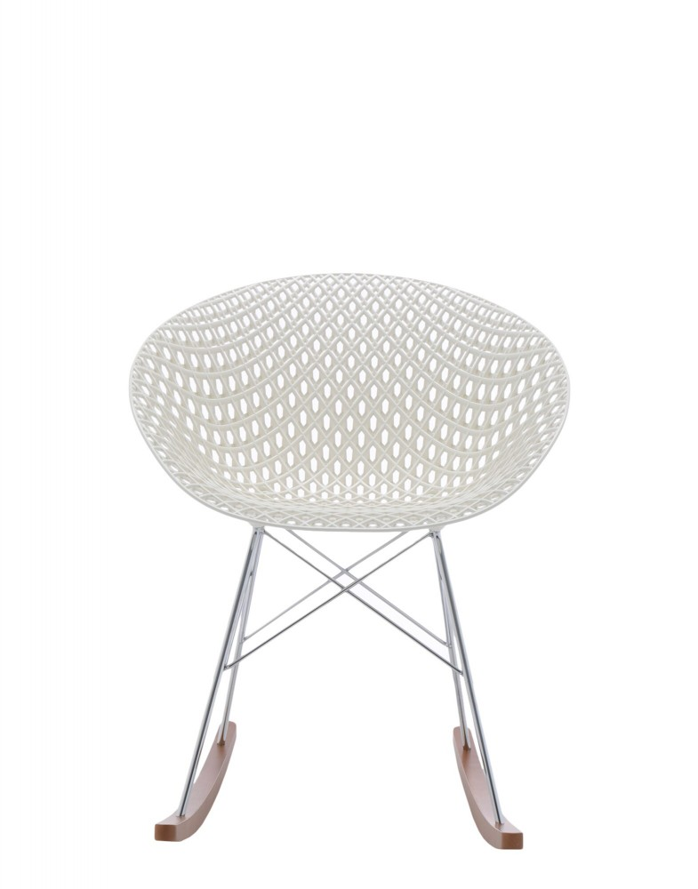 Кресло Smatrik (белое/дерево) на салазках