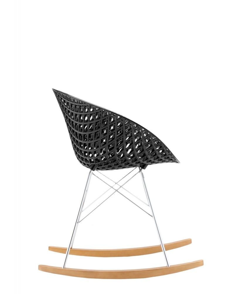 Кресло Smatrik (черное/дерево) на салазках