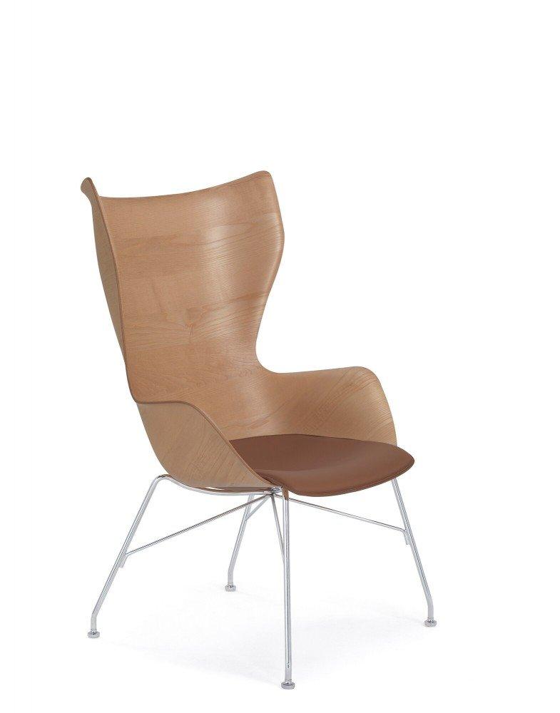 Кресло K/Wood (дерево/хромированное) с текстурой и кожей