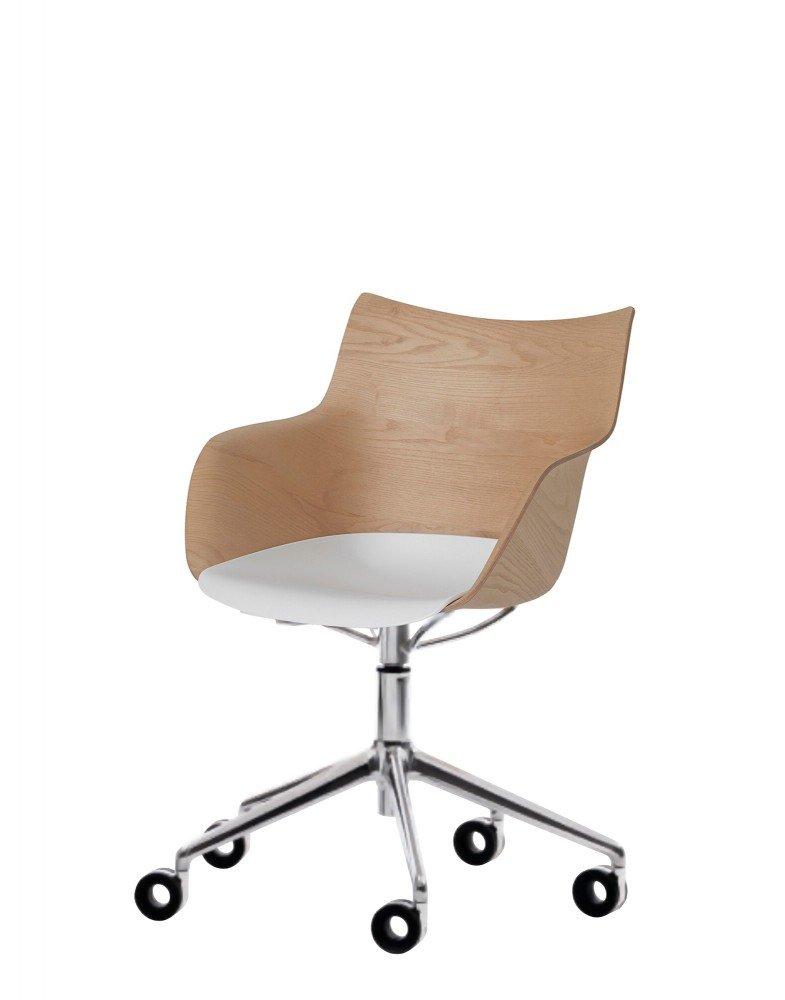 Кресло Q/Wood (дерево/хромированное) с белым сиденьем на колесах