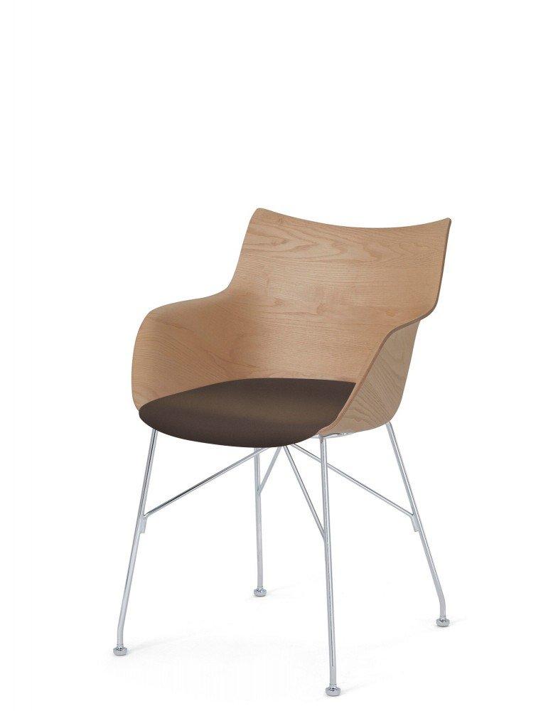 Кресло Q/Wood (дерево/хромированное) в коричневой ткани
