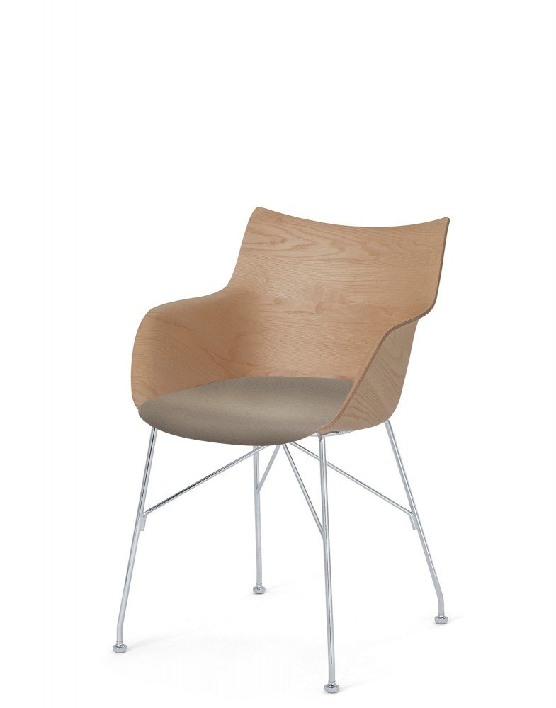 Кресло Q/Wood (дерево/хромированное) в бежевой ткани