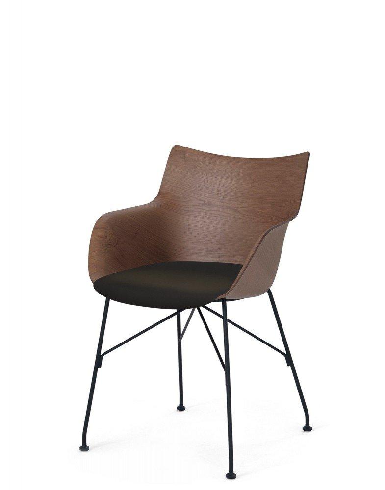 Кресло Q/Wood (дерево/черное) в черной ткани
