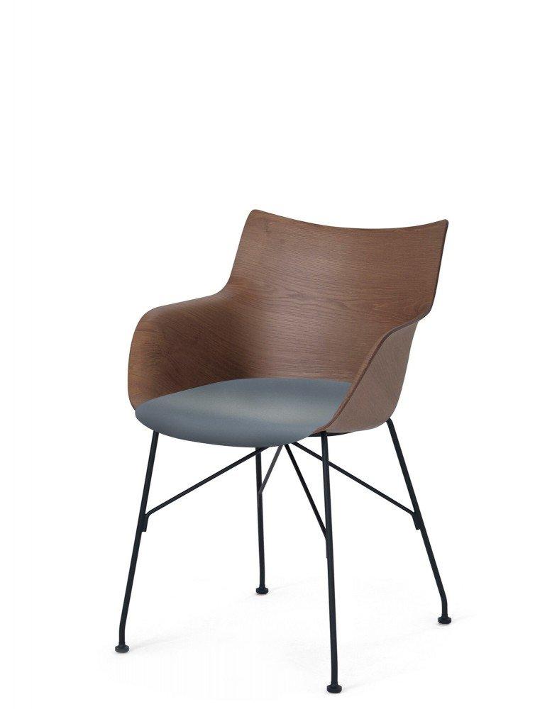 Кресло Q/Wood (дерево/черное) в синей ткани