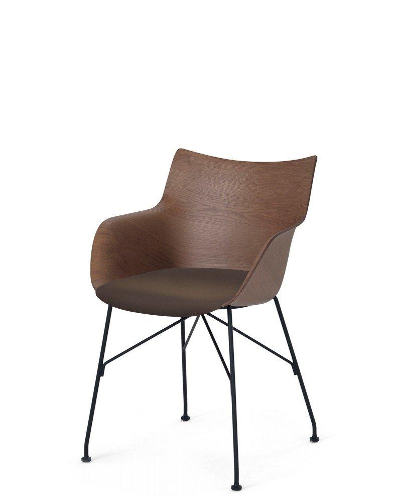 Кресло Q/Wood (дерево/черное) в коричневой ткани