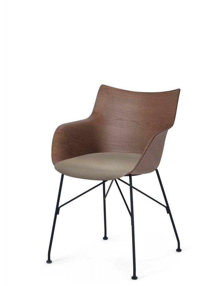 Кресло Q/Wood (дерево/черное) в бежевой ткани