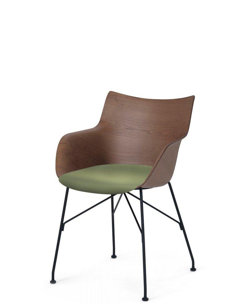 Кресло Q/Wood (дерево/черное) в зеленой ткани