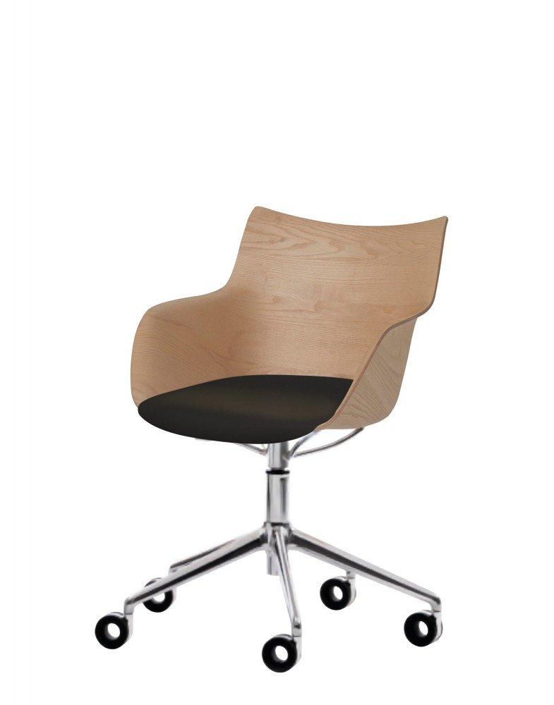 Кресло Q/Wood (дерево/хромированное) в черной ткани на колесах