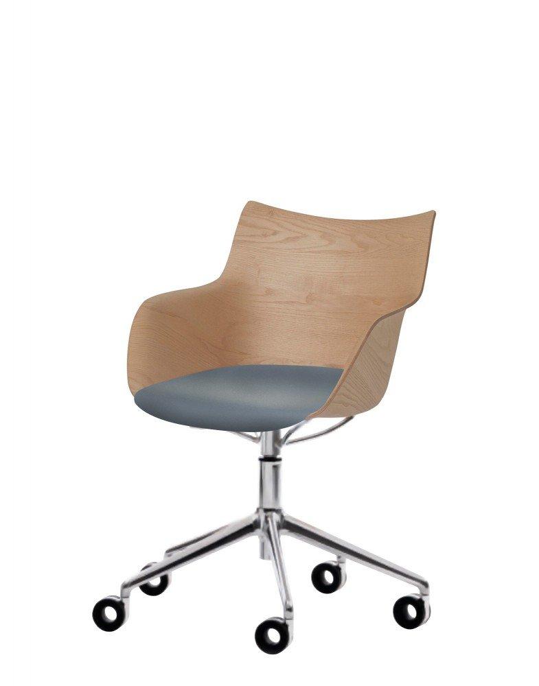 Кресло Q/Wood (дерево/хромированное) в синей ткани на колесах