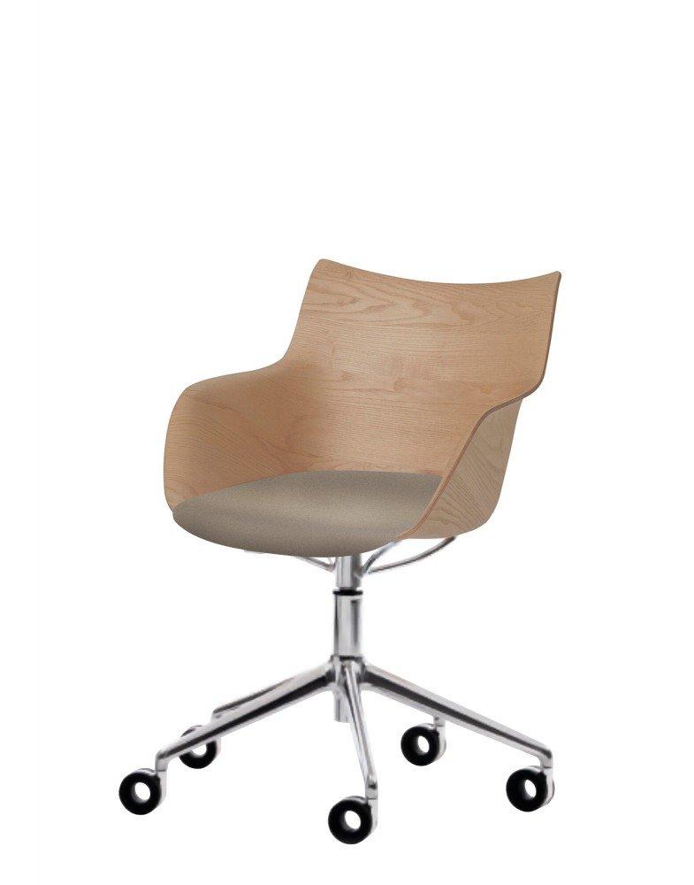 Кресло Q/Wood (дерево/хромированное) в бежевой ткани на колесах