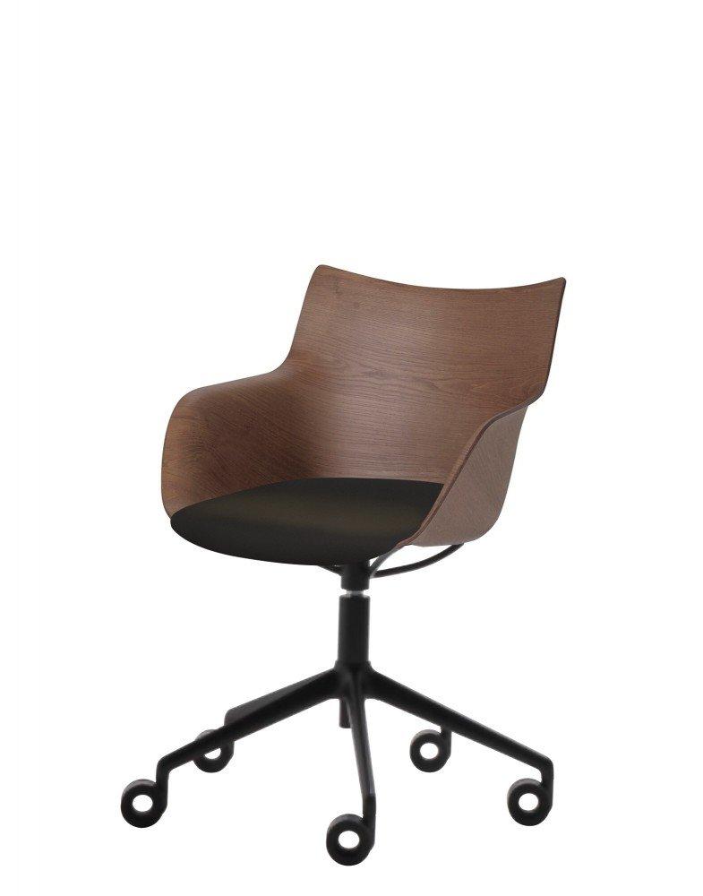 Кресло Q/Wood (дерево/черное) в черной ткани на колесах