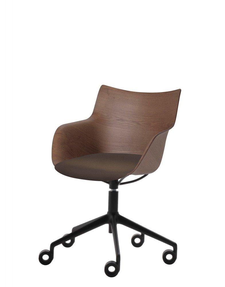 Кресло Q/Wood (дерево/черное) в коричневой ткани на колесах