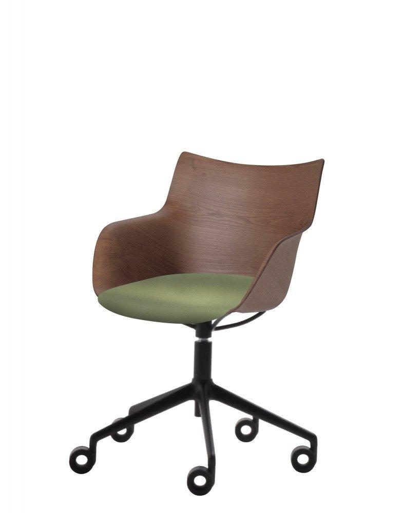 Кресло Q/Wood (дерево/черное) в зеленой ткани на колесах